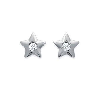 Boucles d'oreilles étoile et strass transparent en argent 925/000. 28432611.