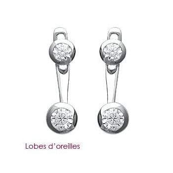 Boucles d'oreilles en argent 925/000 rhodié et oxyde de zirconium. Lobes d'oreilles.