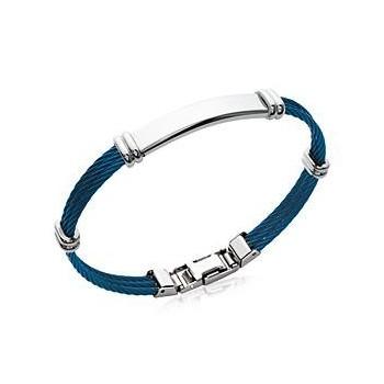 Bracelet en acier bleu.  Bracelet pour homme.