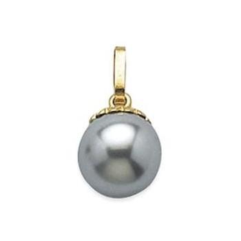 Pendentif perle d'imitation grise anthracite.  Belière en plaqué or.