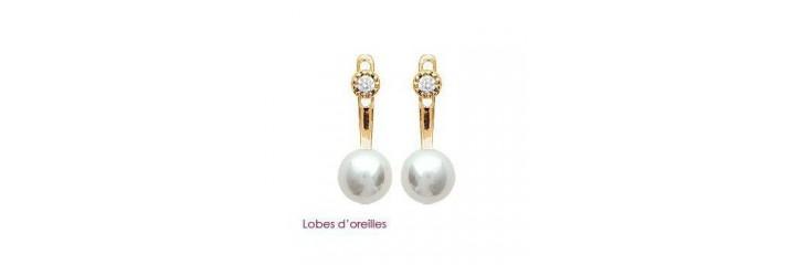 Boucles d'oreilles en plaqué or avec perles