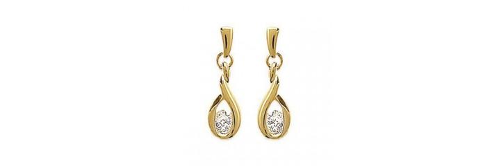 Boucles d'oreilles en plaqué or avec pierre