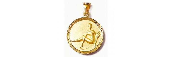 Pendentifs signes du zodiaque en plaqué or.