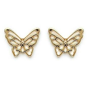 Boucles d'oreilles en plaqué-or.  Modèle papillon.