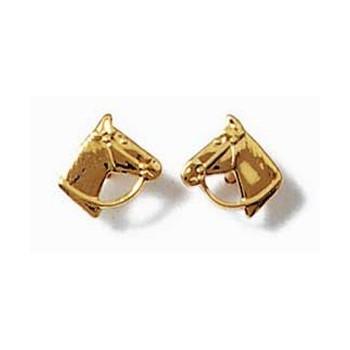 Boucles d'oreilles en plaqué-or. Tête de cheval. DB438531.