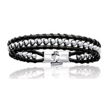 Bracelet en acier, cuir et coton