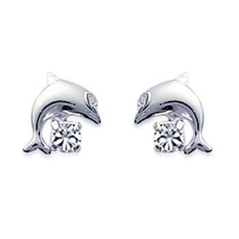 Boucles d'oreilles en argent 925/000 et cristal transparent
