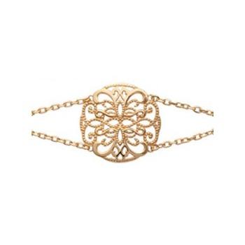 Bracelet ethnique double chaîne en plaqué or 750/000. DB184222518