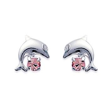 Boucles d'oreilles en argent 925/000 et cristal rose