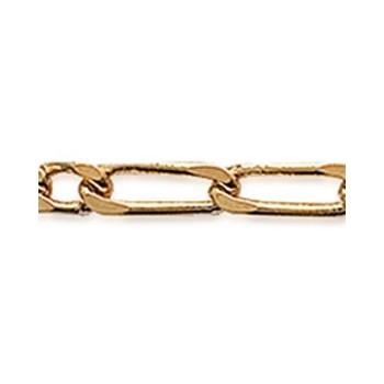 Bracelet en plaqué-or - Maille figaro 2-4 diamanté