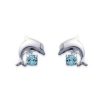 Boucles d'oreilles en argent 925/000 et cristal aquamarine. Dauphins.