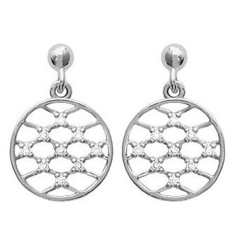 Boucles d'oreilles en argent 925/000 rhodié et oxyde de zirconium