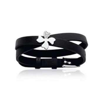 Bracelet en acier, zirconium et cuir
