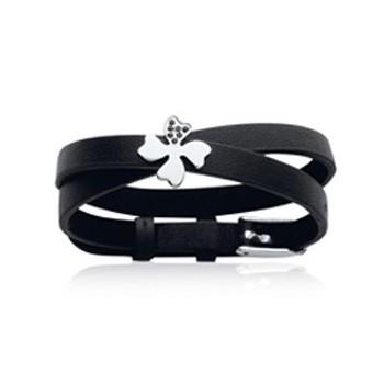 Bracelet en acier, pierre synthétique et cuir