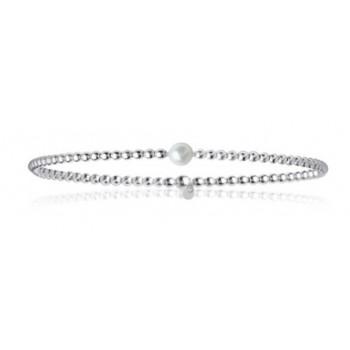 Bracelet en argent 925/000, perle d'eau douce et fil nylon