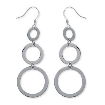 Boucles d'oreilles en acier 316 L. Triple anneaux.