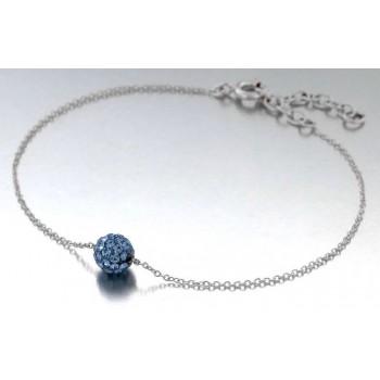 Bracelet ou Collier en argent 925/000 rhodié et Cristal bleu