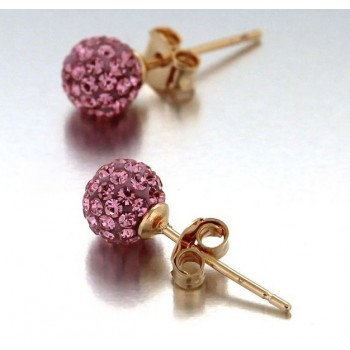 Boucles d'oreilles en plaqué or et Cristal rose