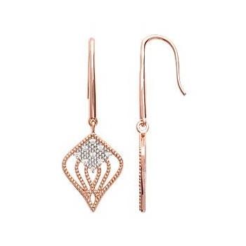 Boucles d'oreilles en plaqué or rose et oxyde de zirconium.
