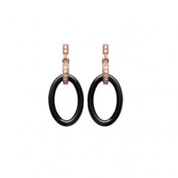Boucles d'oreilles en plaqué or rose, oxyde de zirconium et céramique.