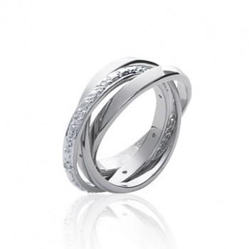 Bague en argent 925/000 rhodié et oxyde de zirconium. 3 anneaux.
