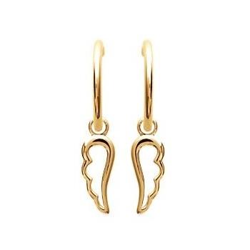 Boucles d'oreilles créoles en plaqué or. Ailes. 5227900.