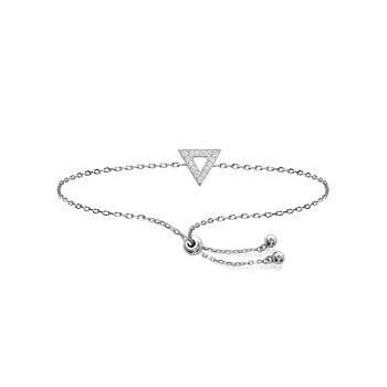 Bracelet en argent 925/000 rhodié et oxyde de zirconium. Modèle coulissant avec triangle.
