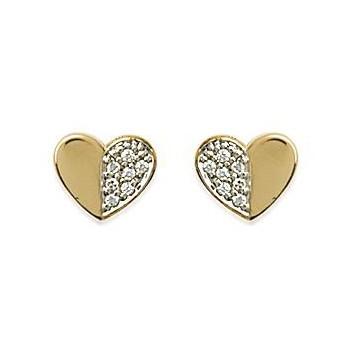 Boucles d'oreilles en plaqué-or et oxyde de zirconium.