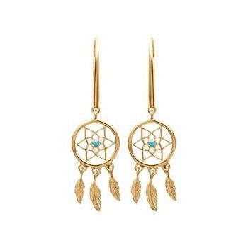 Boucles d'oreilles attrape-rêve en plaqué or et pierre d'imitation turquoise.