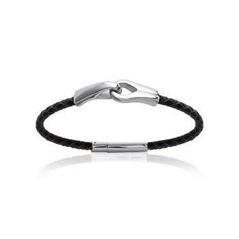Bracelet en acier et cuir.