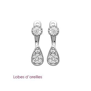 Boucles d'oreilles en argent 925/000 rhodié et OZ. DB3065110.