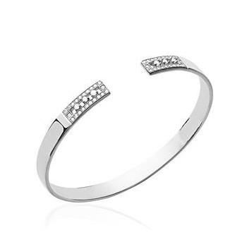Bracelet rigide en argent 925/000 rhodié et OZ. Jonc avec brillants. DB174286556