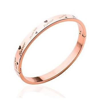 Bracelet rigide en acier rosé avec messages d'amour. DB62082356.