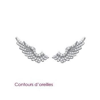 Boucles d'oreilles ailes d'aigles en argent rhodié et OZ.