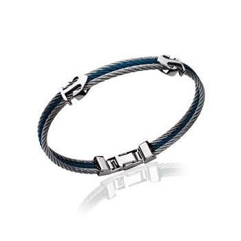 Bracelet homme en acier de couleur argenté et bleu.  Modèle Ancre.