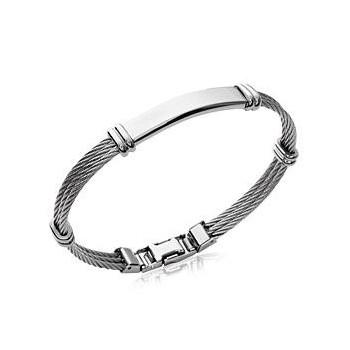 Bracelet pour homme en acier triple cables.  Couleur argenté.