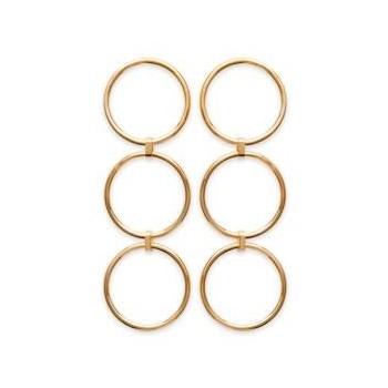 Boucles d'oreilles 3 anneaux en plaqué or.