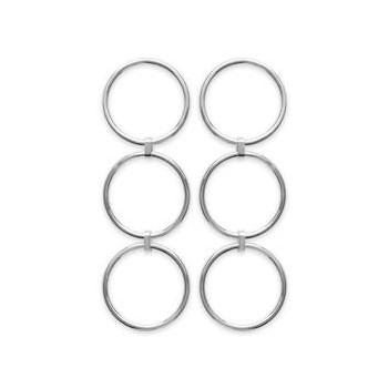 Boucles d'oreilles 3 anneaux en argent rhodié.