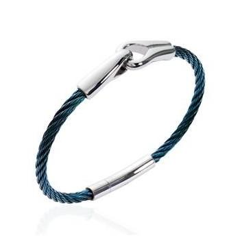Bracelet pour homme en acier bleu.