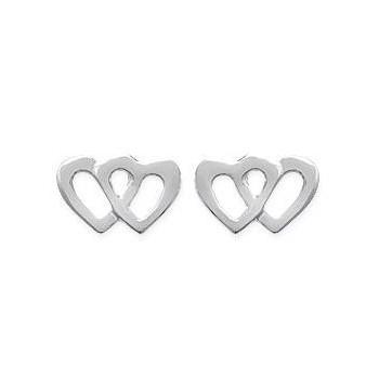Boucles d'oreilles double coeurs en argent rhodié 925/000.