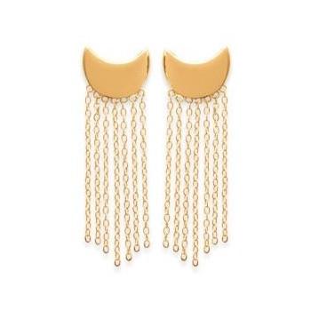 Boucles d'oreilles en demi-lune avec franges. Plaqué or.