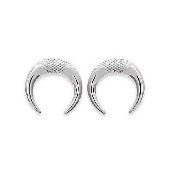 Boucles d'oreilles quartier de lune en argent rhodié 925/000.