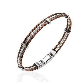 Bracelet pour homme en acier marron et argenté.