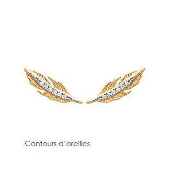 Boucles d'oreilles plumes avec brillants.  Plaqué or et oxyde de zirconium.