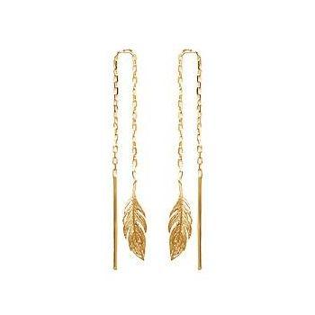 Boucles d'oreilles pendantes avec plumes.  Plaqué or 750/000