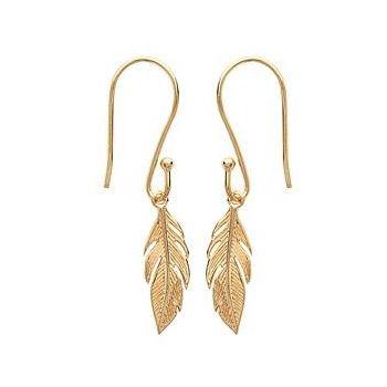 Boucles d'oreilles pendantes avec feuille.  Plaqué or 750/000