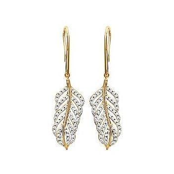 Boucles d'oreilles pendantes avec feuille brillante.  Plaqué or et OZ.
