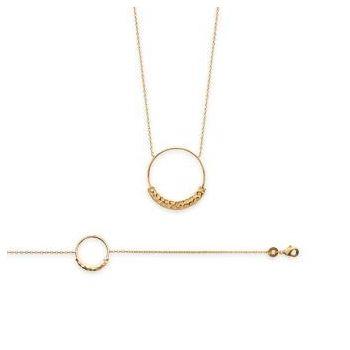 Bracelet et/ou collier cercle partiellement martelé en plaqué or.