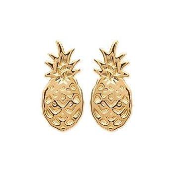 Boucles d'oreilles ananas en plaqué or.