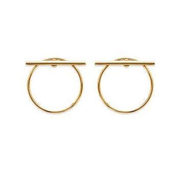 Boucles d'oreilles cercle et barre transversale en plaqué or.